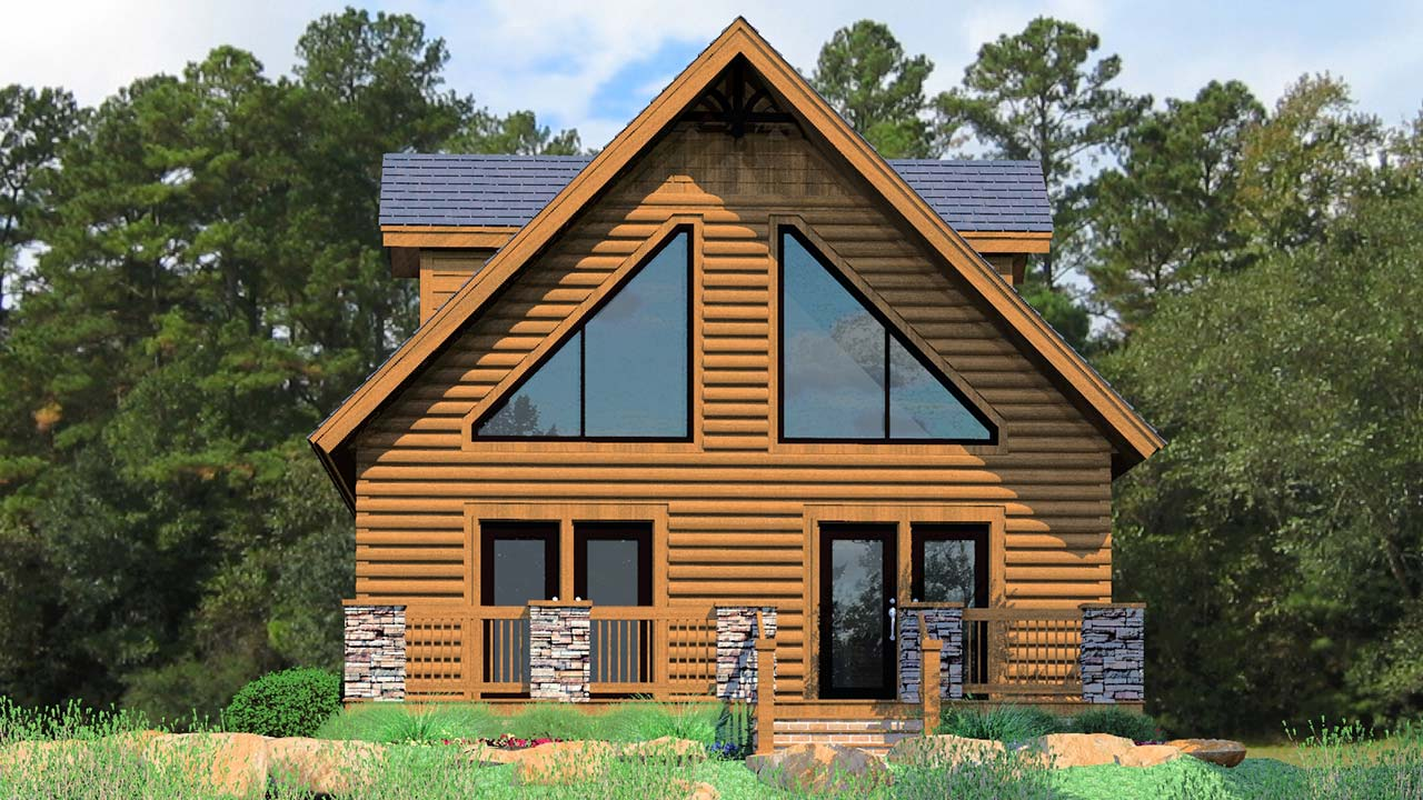 Mulberry modular home rendering with log exterior