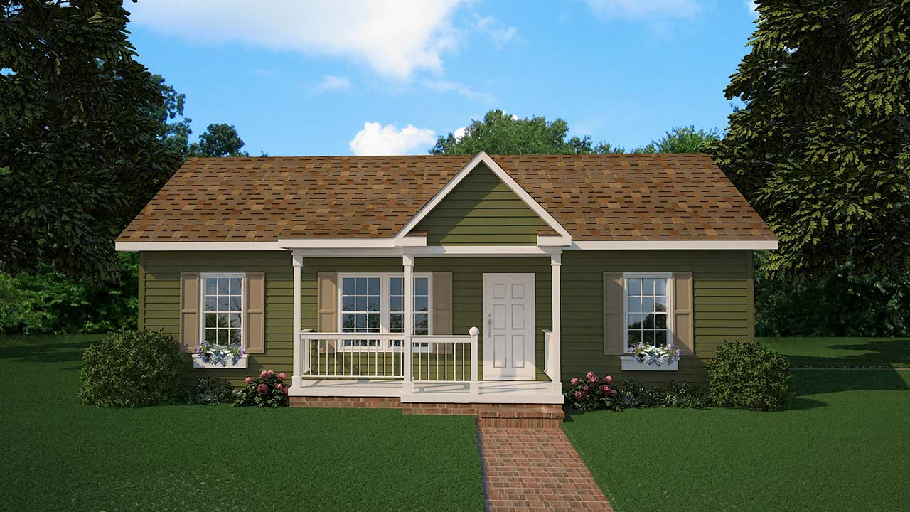 Newbury ranch modular home rendering with country exterior with porch