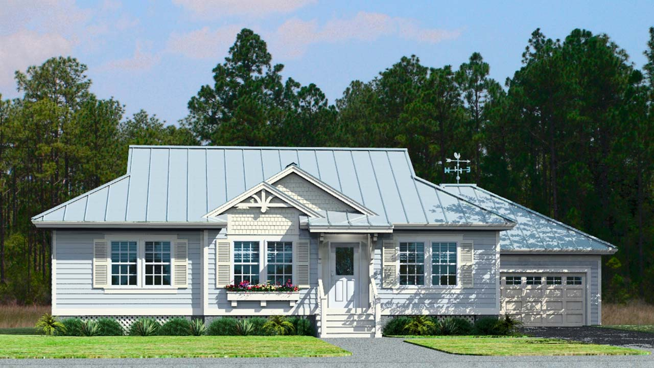 Oakdale ranch modular home rendering with coastal exterior