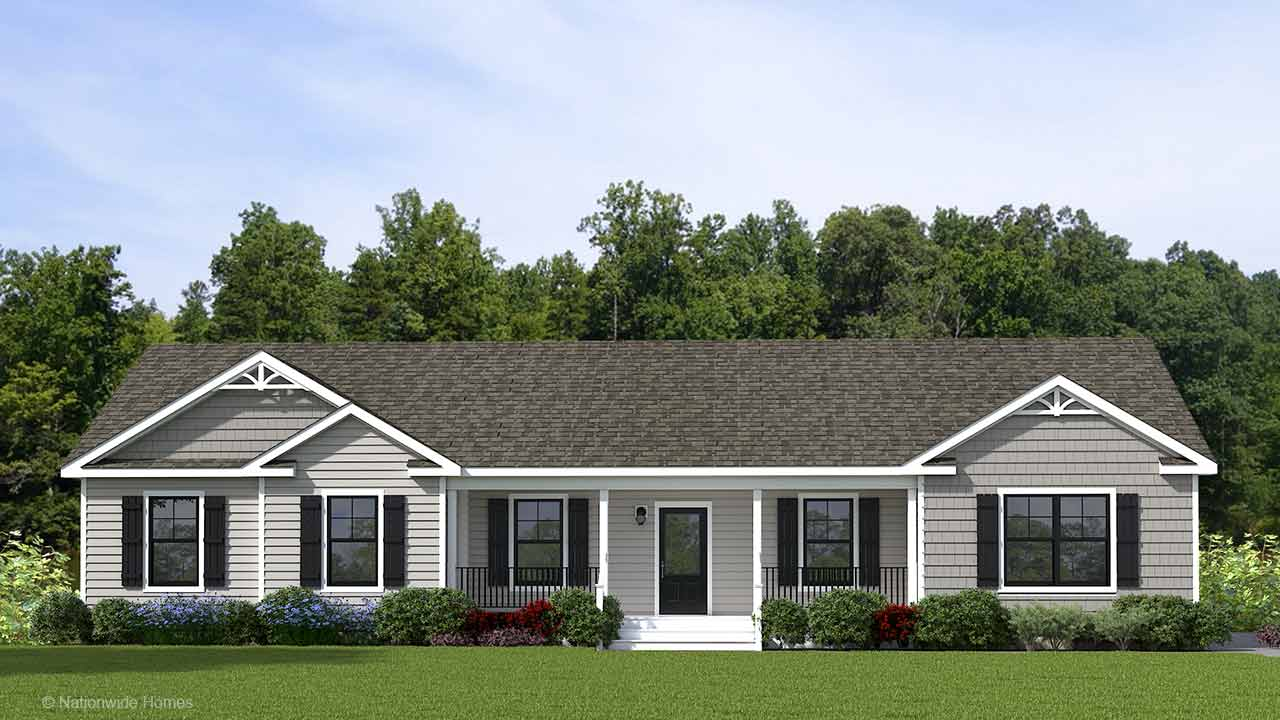 Southampton II ranch modular home rendering with craftsman exterior