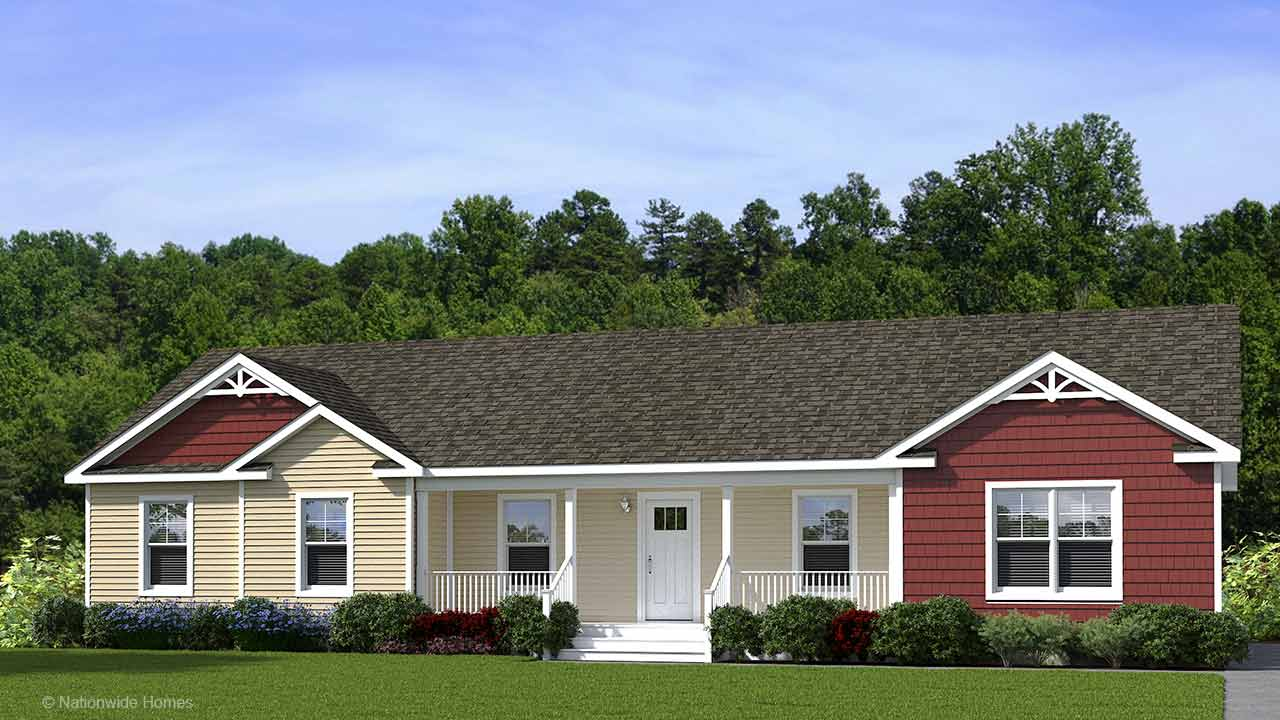 Southampton ranch modular home rendering with craftsman exterior