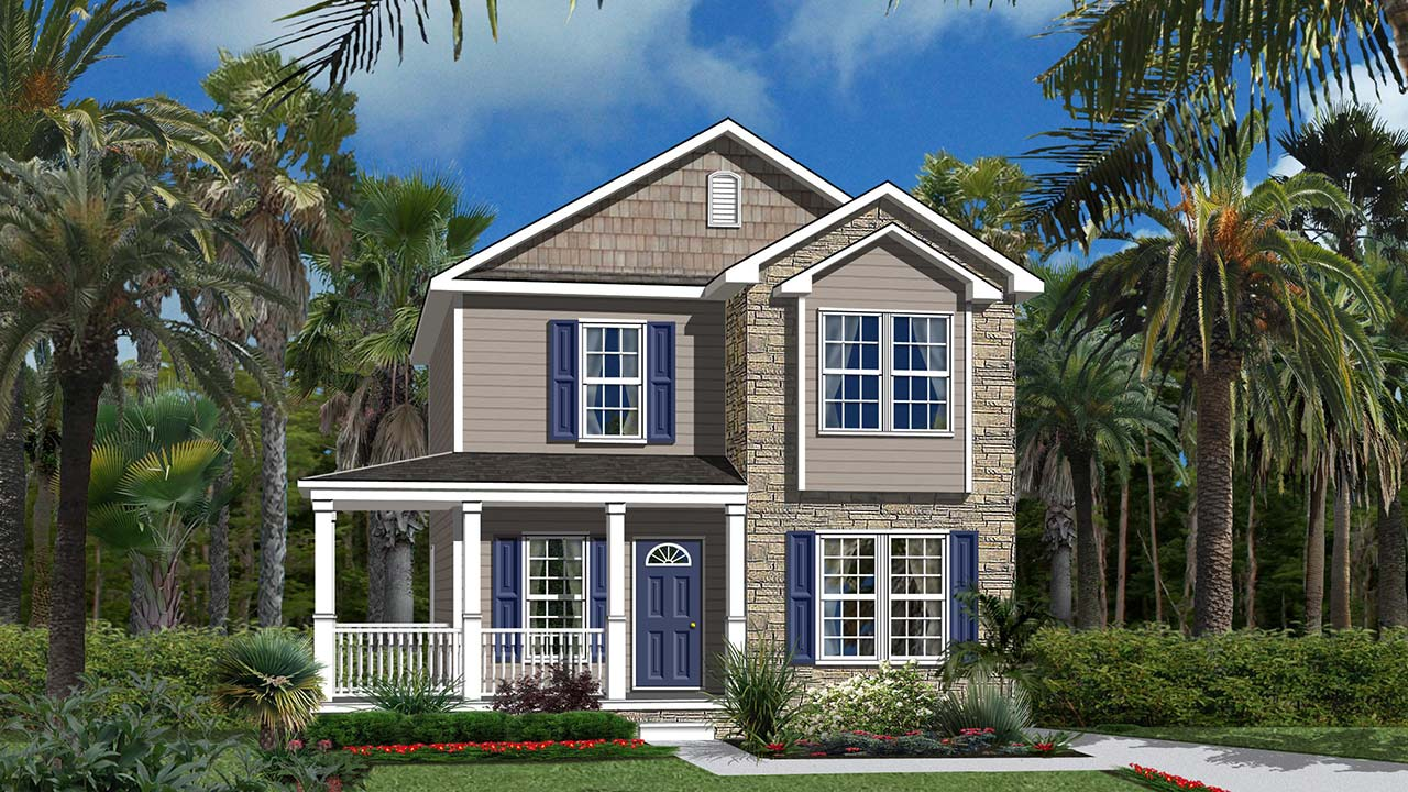 St. Helena two-story modular home rendering with craftsman exterior