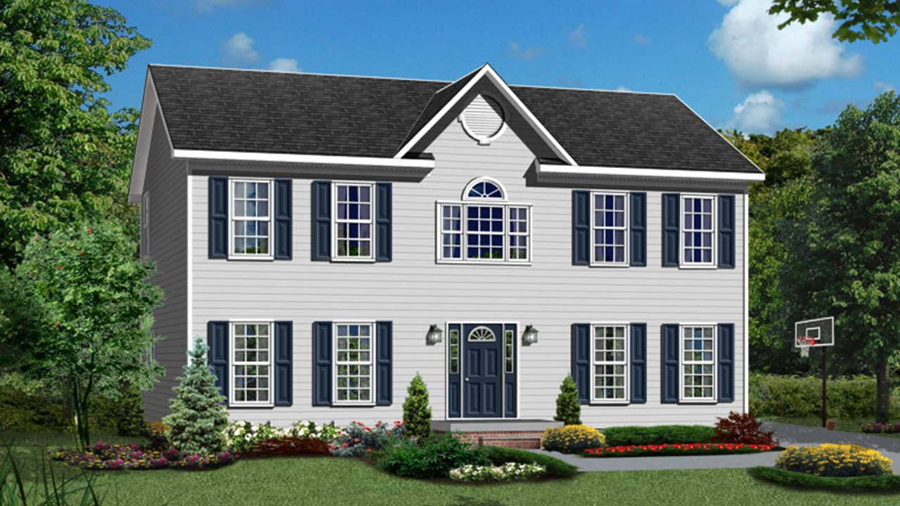 Sugarhill two-story modular home rendering with white traditional l exterior