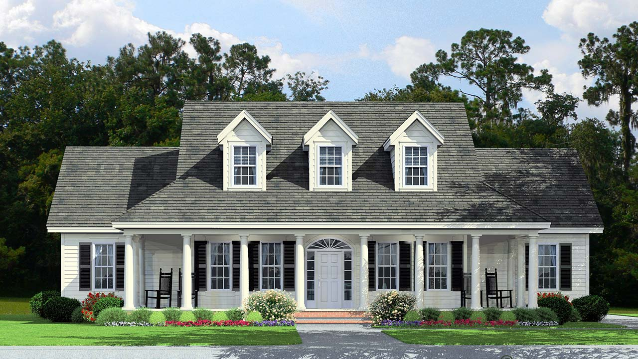 Tidewater cape cod modular home rendering with craftsman exterior