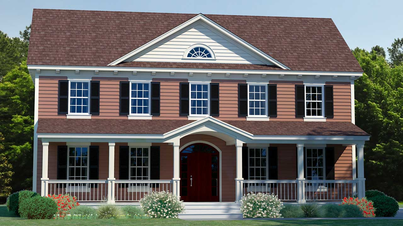 Tradition Two Story Model Rendering Traditional Exterior