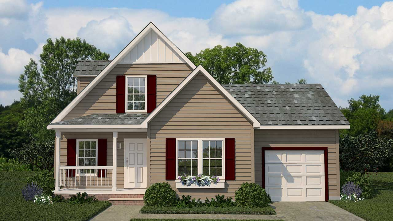 York cape cod modular home rendering with traditional exterior